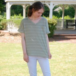 Green Striped Pocket Top Hailey & Co